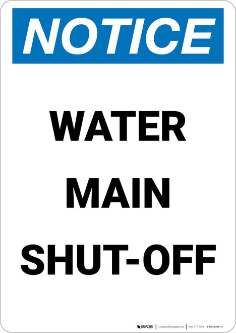 Notice: Water Main Shut-Off Portrait