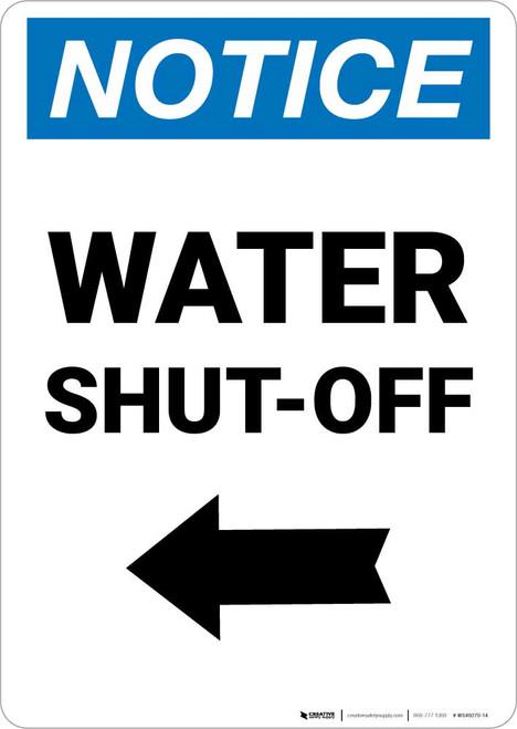 Notice: Water Shut-Off with Left Arrow Portrait
