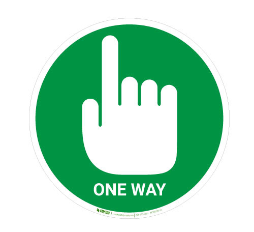 One Way with Pointing Hand - Green - Floor Sign