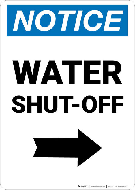 Notice: Water Shut-Off with Right Arrow Portrait
