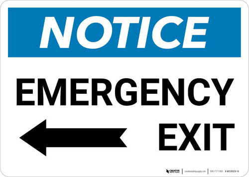 Notice: Emergency Exit with Left arrow Landscape