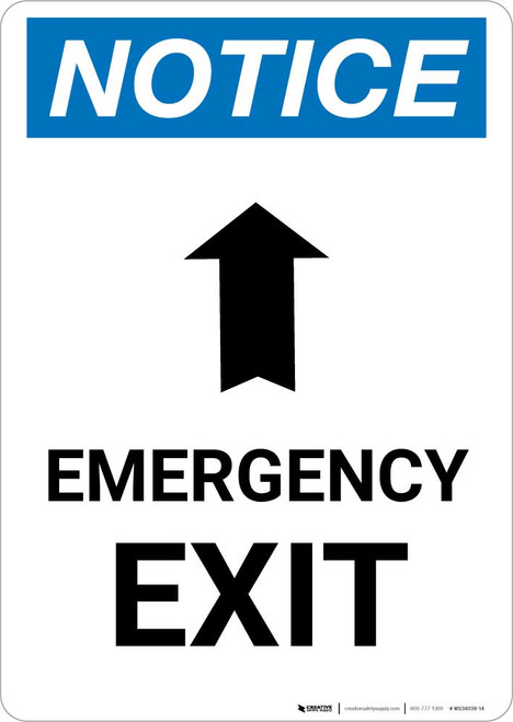 Notice: Emergency Exit with Up Arrow Portrait
