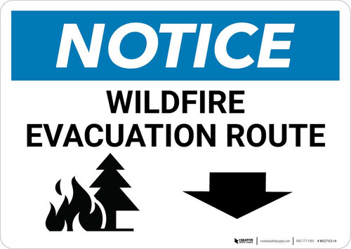 Notice: Wildfire Evacuation Route with Down Arrow Landscape