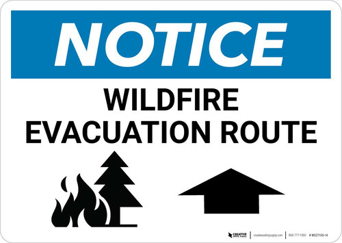Notice: Wildfire Evacuation Route with Up Arrow Landscape
