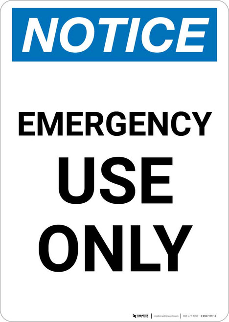 Notice: Emergency Use Only Portrait