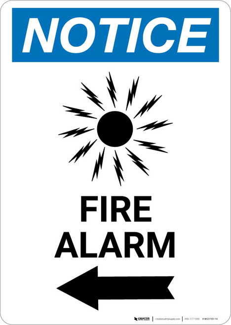 Notice: Fire Alarm with Left Arrow Portrait