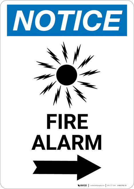 Notice: Fire Alarm with Right Arrow Portrait