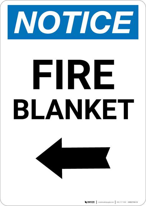 Notice: Fire Blanket with Left Arrow Portrait