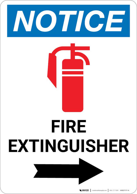 Notice: Fire Extinguisher with Right Arrow and Icon Portrait