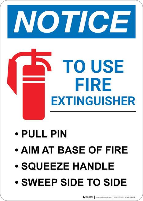 Notice: Fire Extinguisher Procedure Portrait
