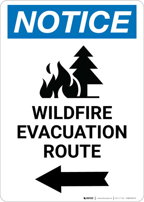 Notice: Wildfire Evacuation Route with Left Arrow and Icon Portrait