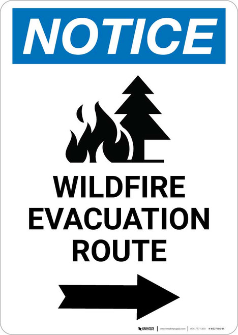 Notice: Wildfire Evacuation Route with Right Arrow and Icon Portrait