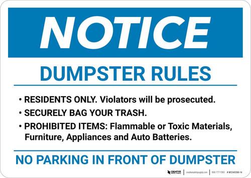 Notice: Dumpster Rules Landscape