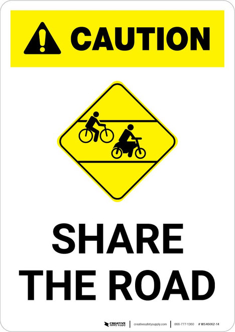 Caution: Share the Road with Icon Portrait
