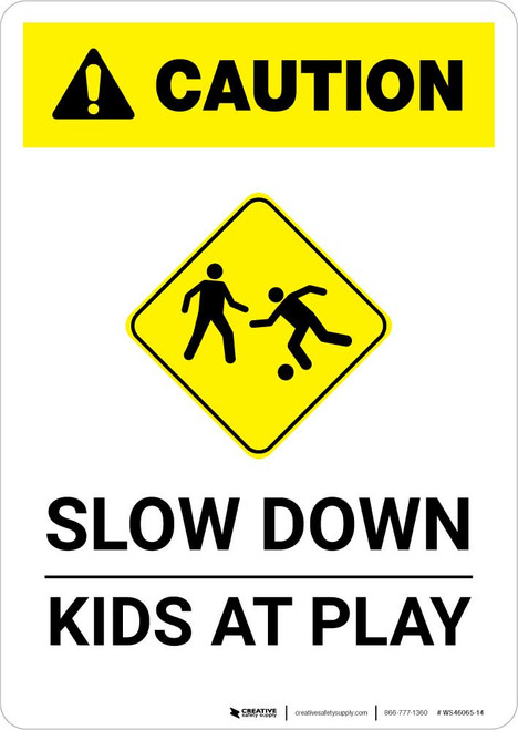 Caution: Slow Down - Kids At Play with Icon Portrait