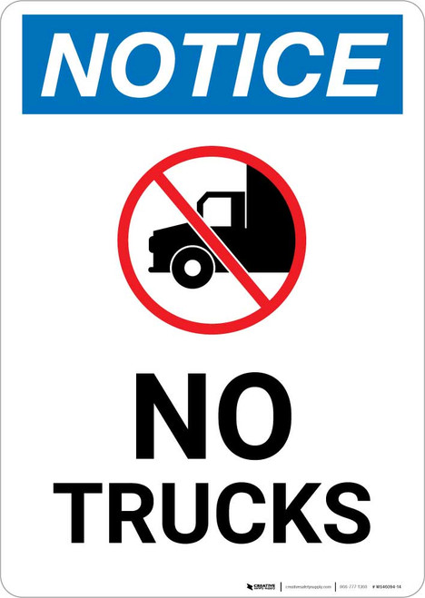 Notice: No Trucks with Icon Portrait
