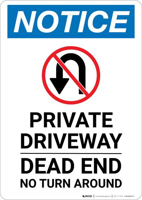 Notice: Private Driveway - Dead End No Turn Around Portrait