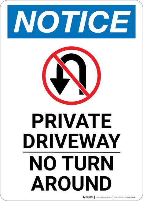 Notice: Private Driveway - No Turn Around with Icon Portrait