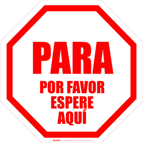 STOP: Please Wait Here Spanish - Floor Sign