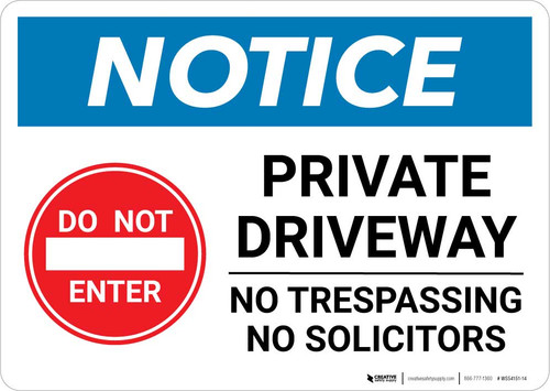 Notice: Do Not Enter - Private Driveway - No Trespassing or Solicitors with Icon Landscape