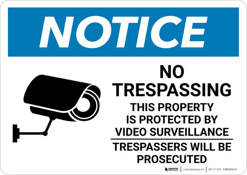 Notice: No Trespassing - Property Protected by Video Surveillance with Icon Landscape