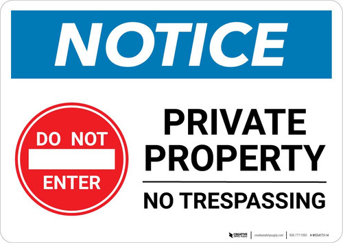 Notice: Private Property - No Trespassing with Icon Landscape