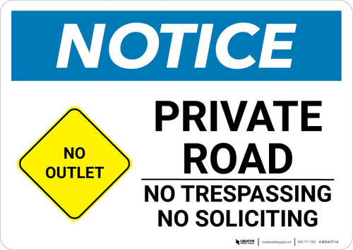 Notice: Private Road - No Trespassing/Soliciting with Icon Landscape