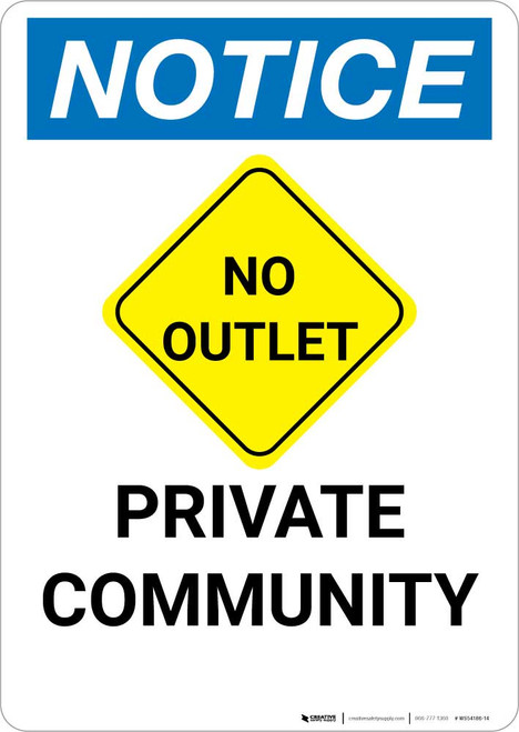 Notice: Private Community with No Outlet Icon Portrait