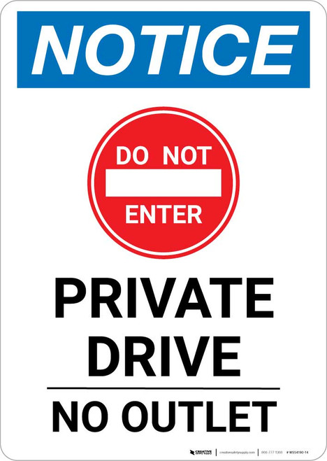 Notice: Private Drive - No Outlet with Icon Portrait