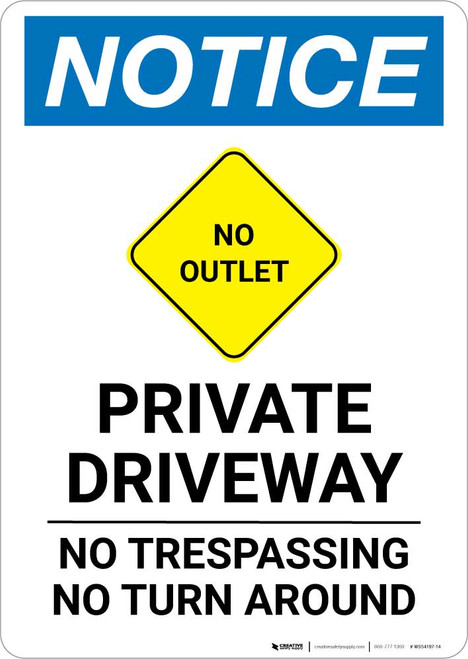 Notice: Private Driveway - No Trespassing/Turn Around with No Outlet Icon Portrait