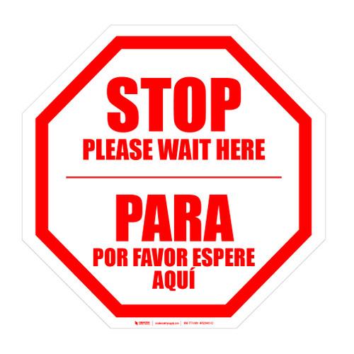 STOP: Please Wait Here Bilingual Spanish - Floor Sign