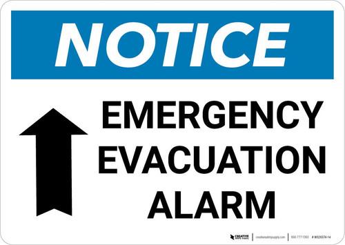 Notice: Emergency Evacuation Alarm with Up Arrow Landscape