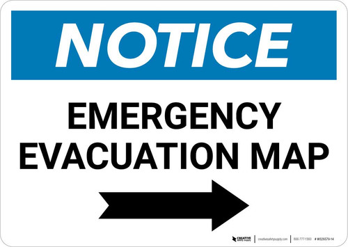 Notice: Emergency Evacuation Map with Right Arrow Landscape