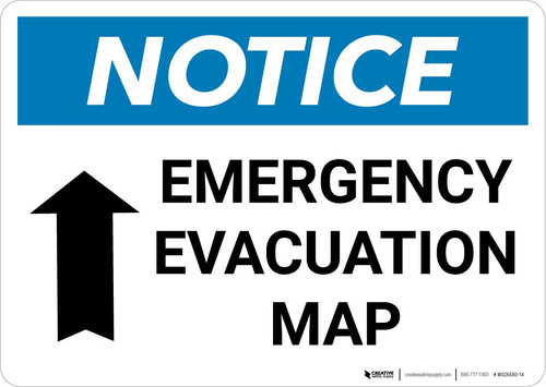 Notice: Emergency Evacuation Map with Arrow Landscape