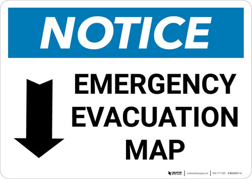 Notice: Emergency Evacuation Map with Down Arrow Landscape