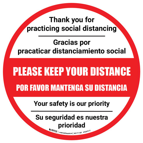Thank You For Practicing Social Distancing Bilingual Spanish - Floor Sign