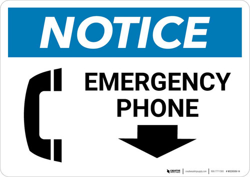 Notice: Emergency Phone with Down Arrow and Icon Landscape