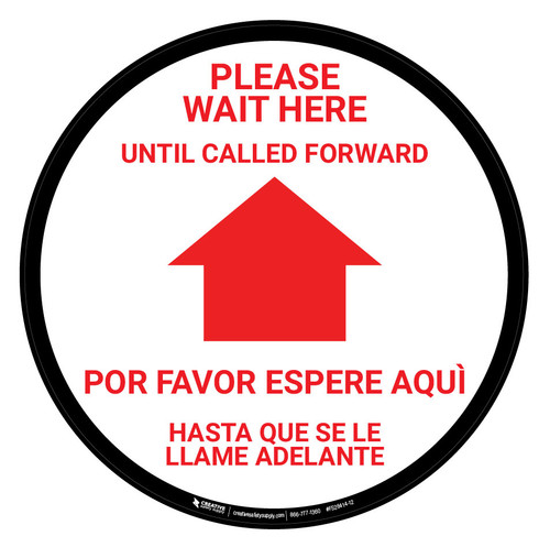 Please Wait Here Until Called Forward Bilingual Spanish - Floor Sign