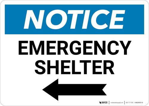 Notice: Emergency Shelter Left Arrow Landscape