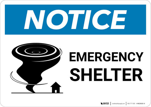 Notice: Emergency Shelter with Icon Landscape