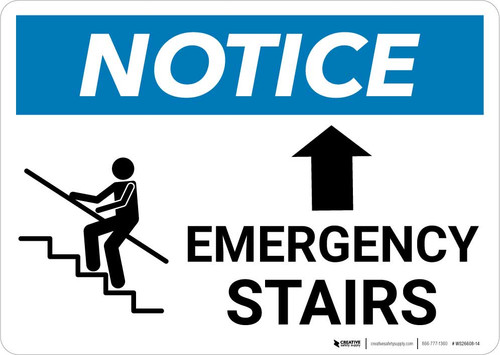 Notice: Emergency Stairs with Up Arrow Landscape