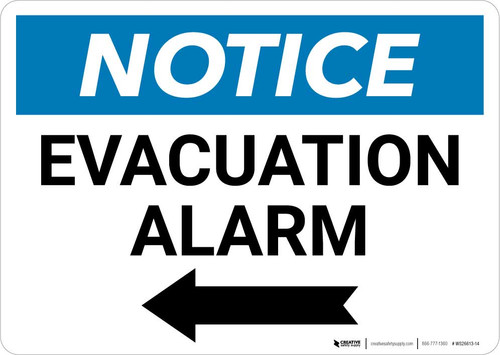 Notice: Evacuation Alarm Left Arrow Landscape