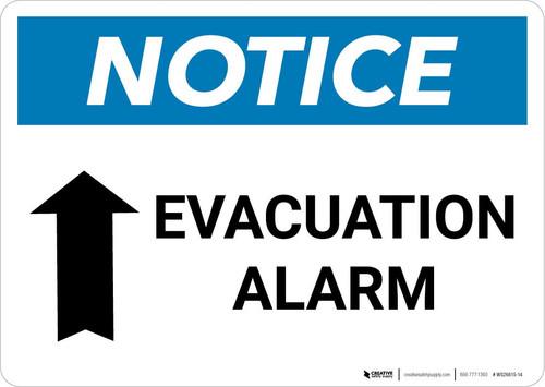Notice: Evacuation Alarm with Up Arrow Landscape