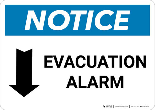 Notice: Evacuation Alarm with Down Arrow Landscape