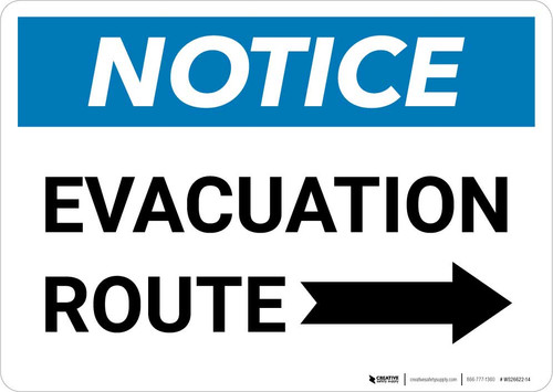 Notice: Evacuation Route with Right Arrow Landscape