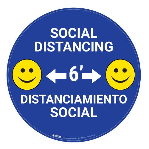 Socal Distancing with Smile Emoji - Blue - Bilingual - Floor Sign
