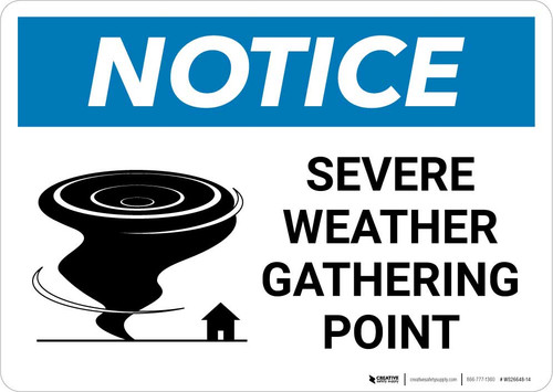 Notice: Severe Weather Gathering Point with Icon Landscape
