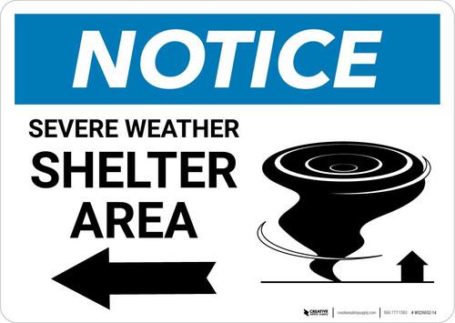 Notice: Severe Weather Shelter Area with Left Arrow Landscape