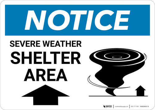 Notice: Severe Weather Shelter Area with Up Arrow Landscape