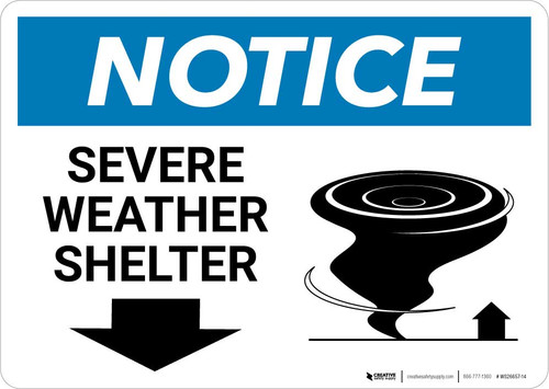 Notice: Severe Weather Shelter with Down Arrow Landscape